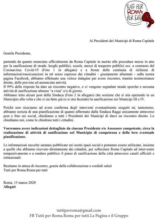 Lettera ai Presidenti dei municipi sulla sanificazione delle strade